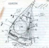 هونسفيلد يشرح فكرة الجهاز بخط يده
